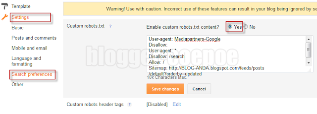 Cara Setting Robots.txt untuk Blogger
