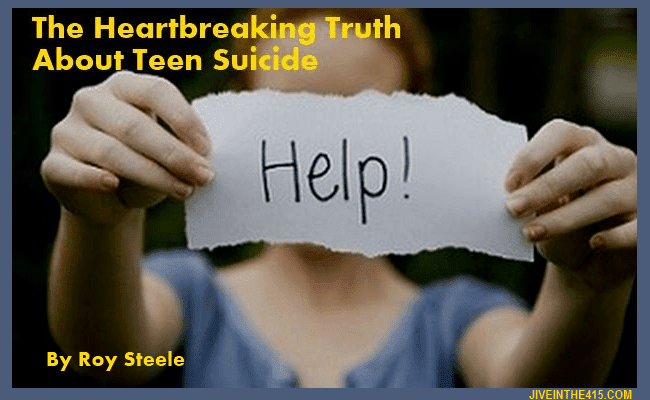 A teen girl is holding up a sign asking for help  - the heartbreaking truth about teen suicide