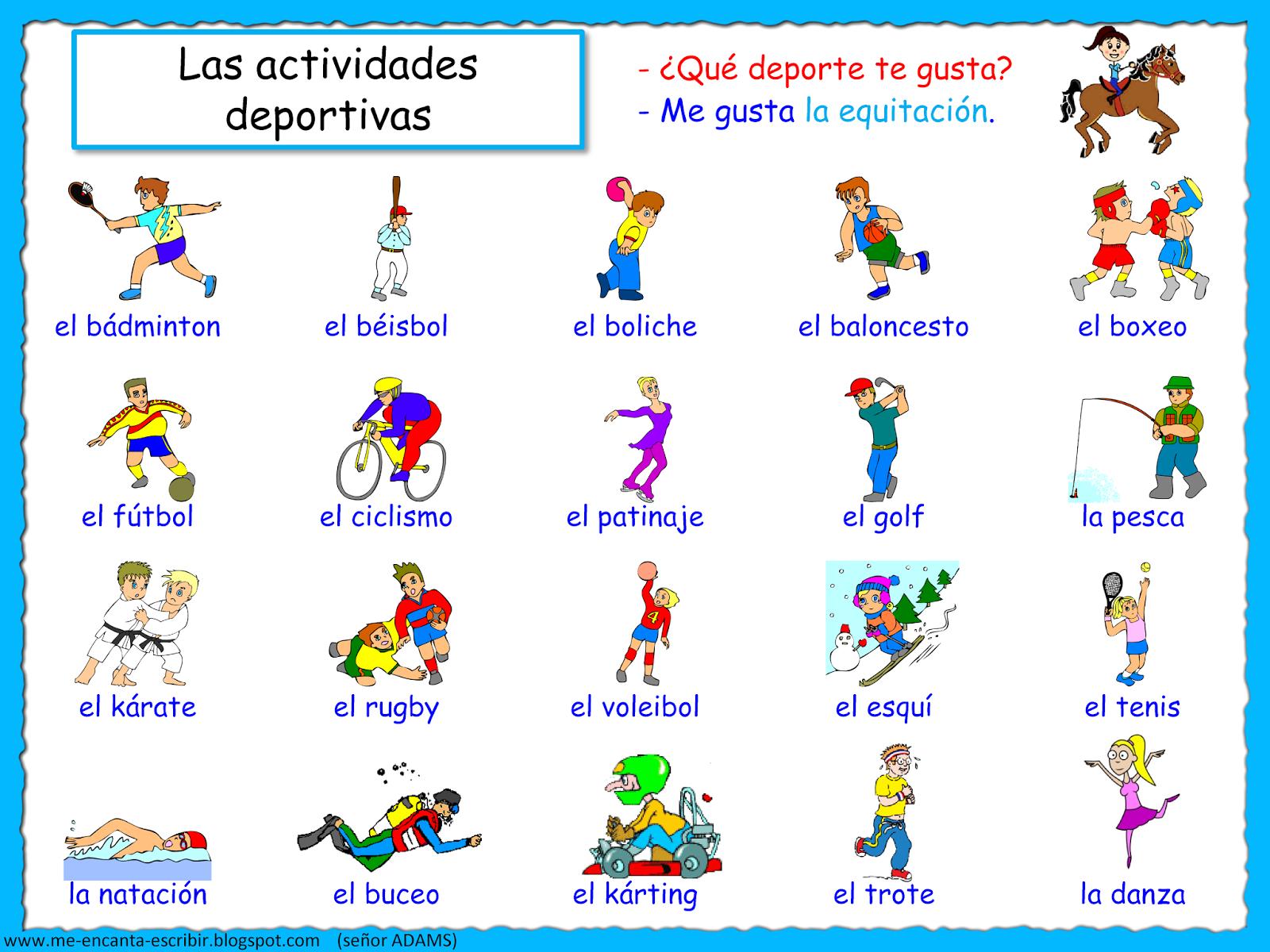Me Encanta Escribir En Espanol Las Actividades Deportivas