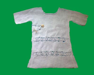 rochie handmade crosetata manual fir de macrame alba