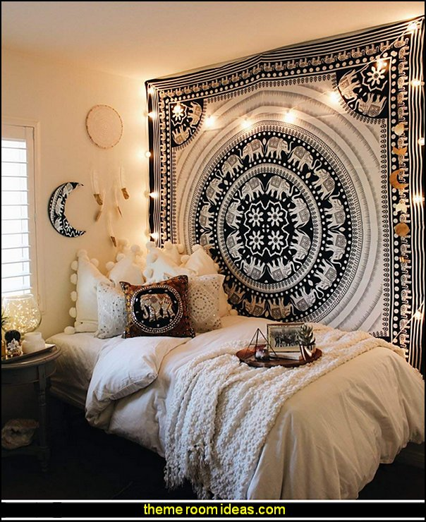 Elephant Tapestry Indian Wall Decor Hippie Mandala Tapestry Boho Tapestry White Color Wall Hanging    exotic bedroom decorating ideas - exotic global style decorating - exotic decor - exotic style furnishings - tropical theme decorating - Moroccan style  Arabian nights - Egyptian theme decorating - Oriental bedrooms - global bazaar themed  - I dream of Jeannie theme bedrooms - exotic design far east furnishings Exotic bedroom decor‎ - Ethnic style decorating ideas - Ethnic style furnishings - Boho style