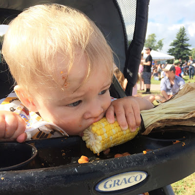 baby eating fresh BBQ corn