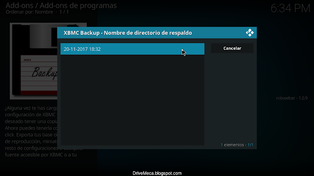 Veremos un listado de backups disponibles para restaurar en Kodi