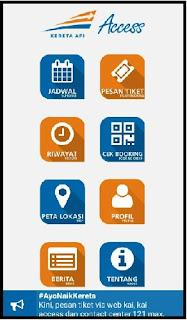 Daftar menu Kai Access pembelian tiket kereta