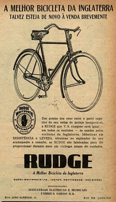 Propaganda antiga das bicicletas Rudge, apresentada na metade dos anos 40