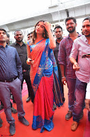 Puja Hegde looks stunning in Red saree at launch of Anutex shopping mall ~ Celebrities Galleries 117.JPG