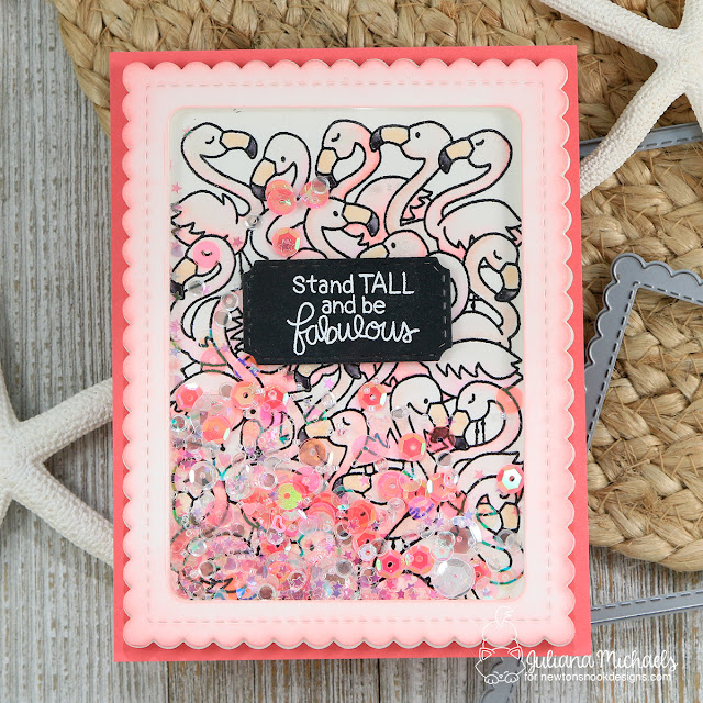 Be Fabulous Shaker Card by Juliana Michaels featuring Newton's Nook Designs Flamingo Flock Stamp Set