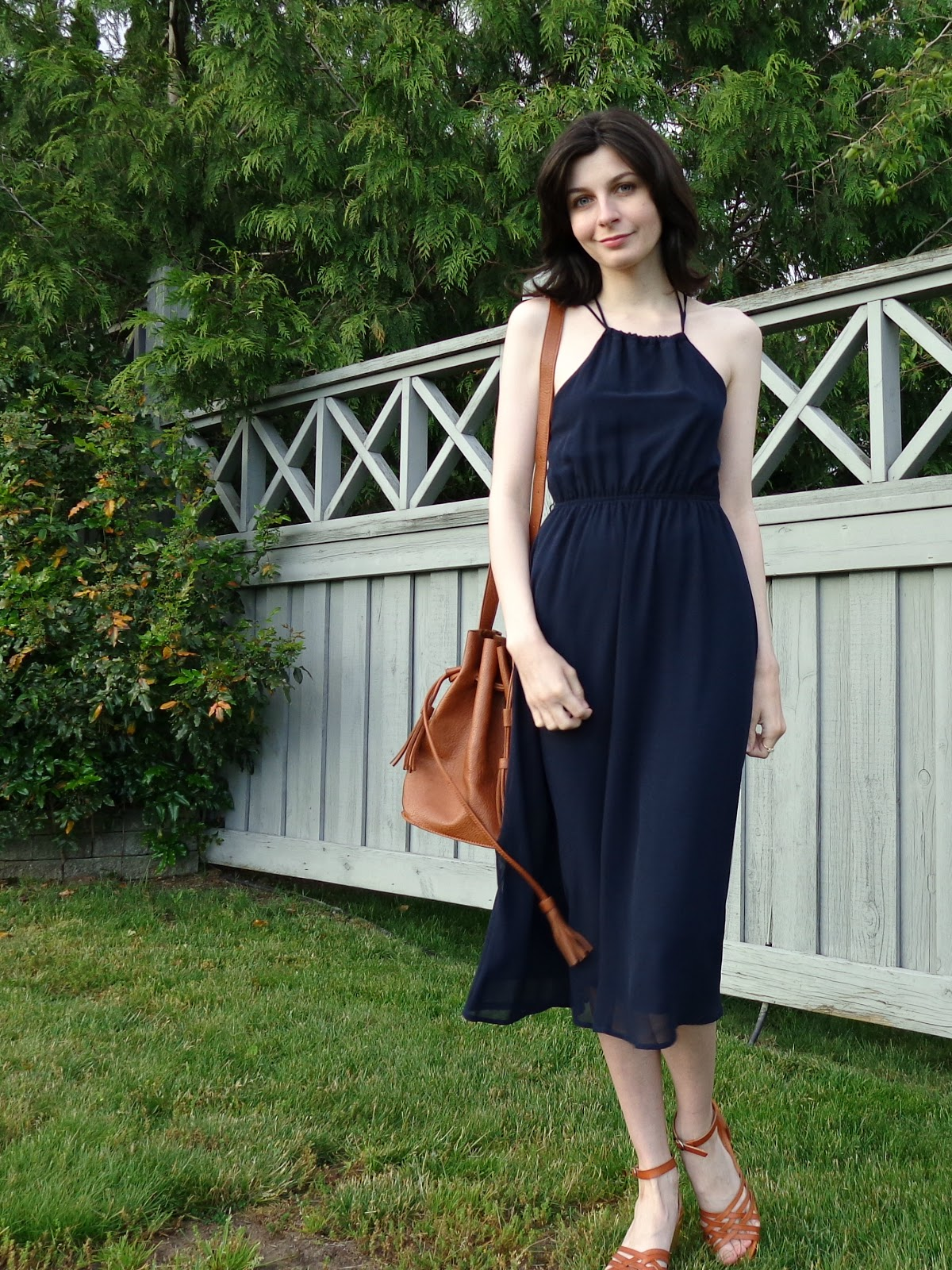 Blue Midi Dress Summer Outfit