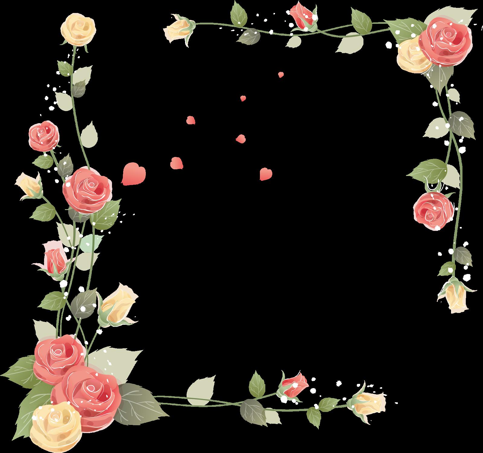 Wedding And Certificate Floral Border Border Clipart: Borda Florais Clipart PNG Fundo Transparente