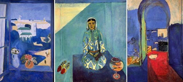 """Henri Matisse """"Tryptyk marokański"""", od lewej: """"Okno na Tanger"""", """"Zorah na tarasie"""", """"Brama kasby"""" (1912) Pushkin Museum of Fine Arts, Moscow, Russia"""