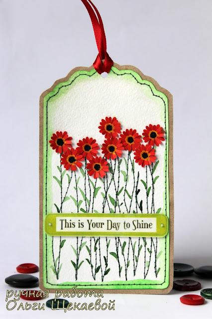 тег, открытка, герберы, цветы