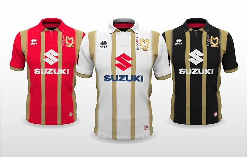 f0227d102cd All three new MK Dons jerseys are based on the same template and feature a  lot of gold in addition the club's traditional color palette.