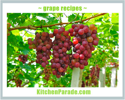 Grape Recipes ♥ KitchenParade.com, sweet & savory, intriguing fruit salads and so much more.