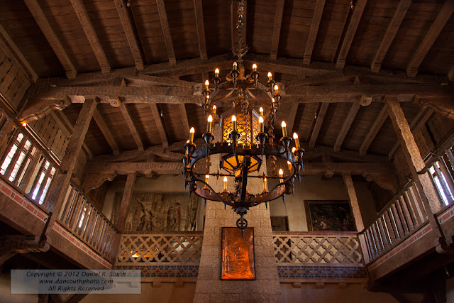 a photograph of the interior of scotty's castle in death valley