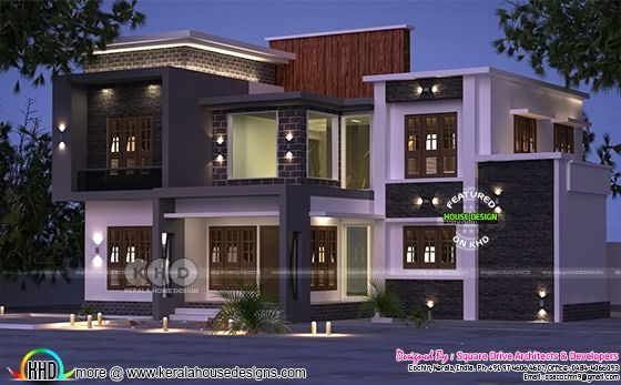 Night view rendering modern house