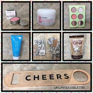 cargo, clean, bottle opener, hair mask, scarf, gluten free snacks, pixie, briogeo