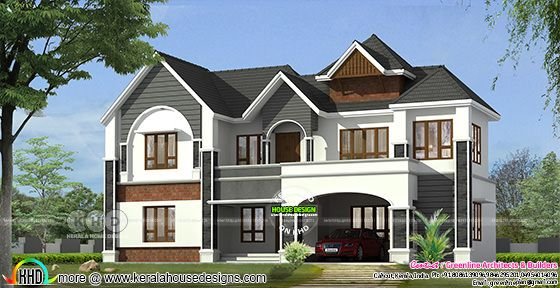 5 bedroom modern sloping roof 3618 sq-ft Kerala home design