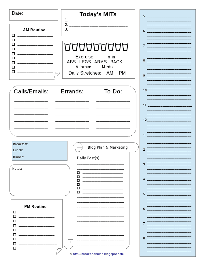 After Struggling To Organize Using Three Different Planning Methods I  Finally Decided To Make My Own Daily Sheet.  Day Planner Sheet