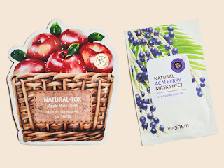 THE SAEM Natural Acai Berry Sheet Mask and Natural-tox Apple Sheet Mask