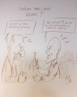Dessins satiriques réalisés en direct durant un Seminaire SOPRA-STERIA permettant d'orienter un partenariat vers une communication ouverte entre les équipes ©Guillaume Néel