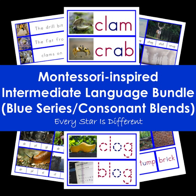 Montessori-inspired Intermediate Language Bundle (Blue Series/Consonant Blends)