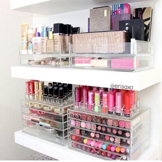 organizar seus itens de maquiagem
