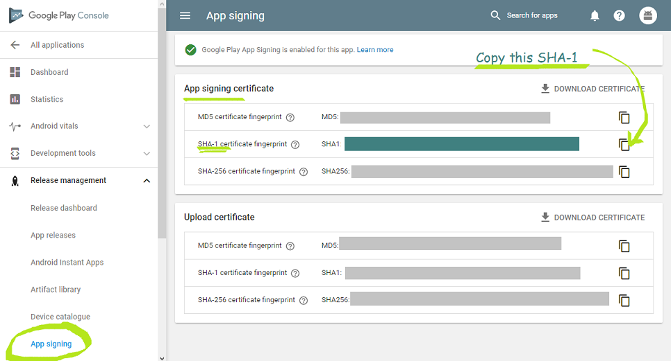 How to get Release SHA-1 (Signing-certificate fingerprint