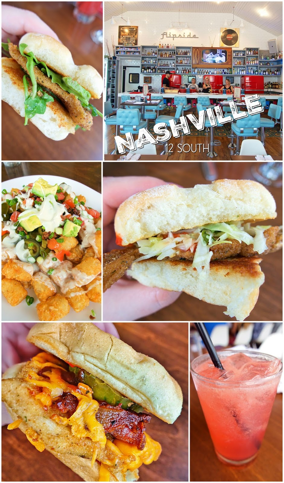 The Flipside in Nashville's 12 South neighborhood - incredible chicken sandwiches and the Tater Tot Nachos are not to be missed!