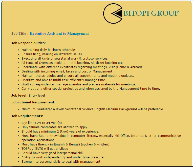 Bitopi Group - Executive Assistant to Management - Job Opportunity