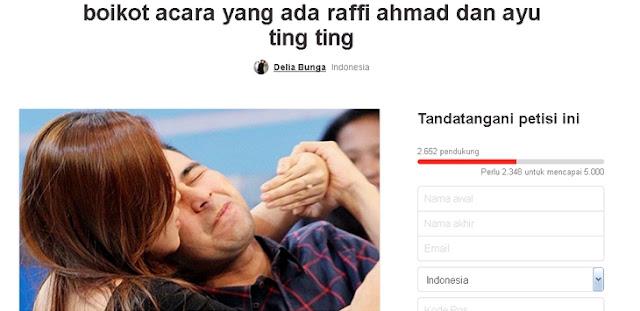 Petisi boikot Ayu Ting Ting dan Raffi Ahmad