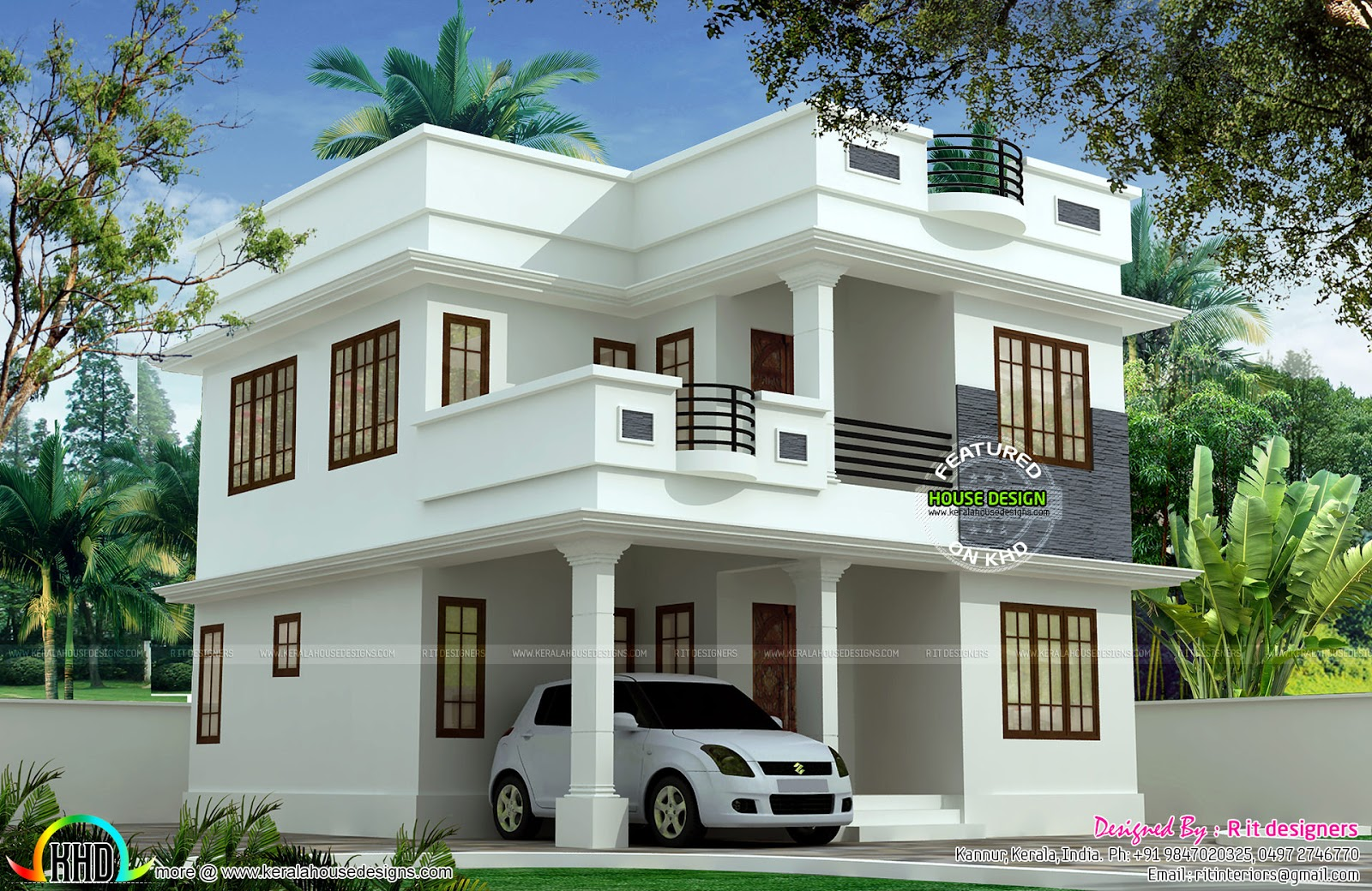 1897 sq ft cute double storied house kerala home design for Small villa plans in kerala