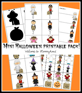 Free Halloween printable pack from Welcome to Mommyhood #montsesori, #preschoolactivities, #halloweenactivities, #halloweenpreschoolactivities