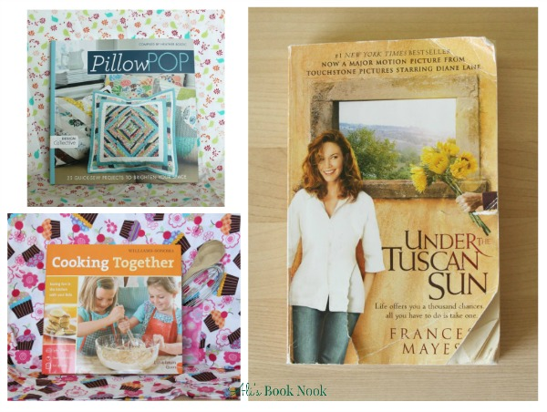 currently reading books cooking with kids sewing pillows under the tuscan sun