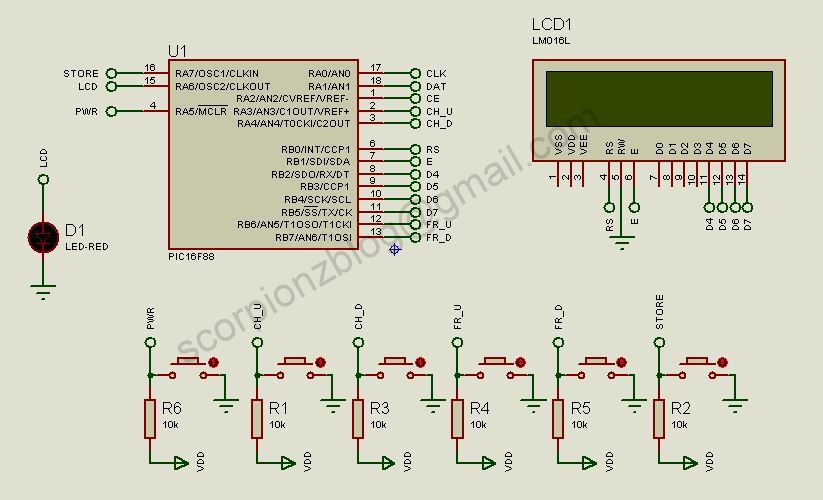 PLL Synthesized FM Receiver Circuit with LCD - 16F88 LM7001