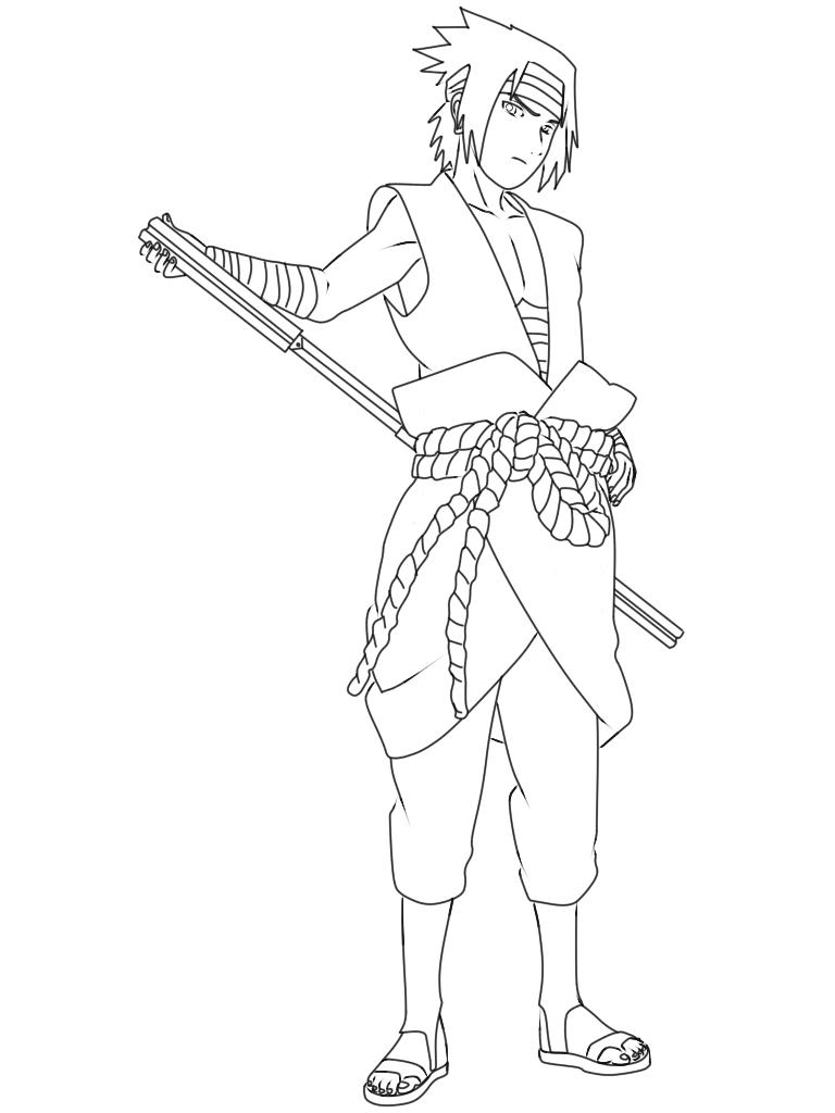 Cara Menggambar Sasuke  Uchiha Black Costume 9KomiK