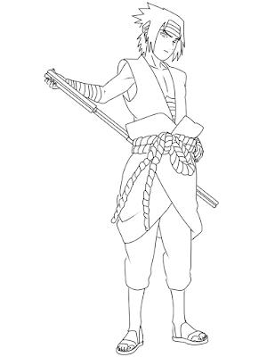 menggambar sasuke uchiha black costume langkah 21