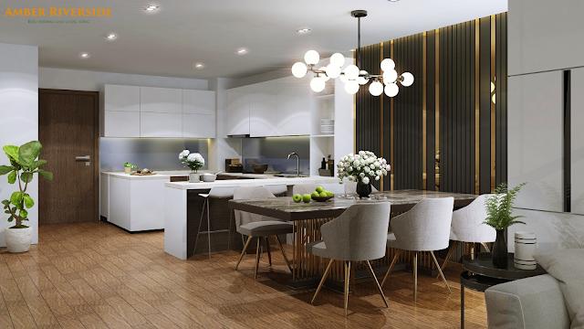 Phòng bếp của Amber Riverside