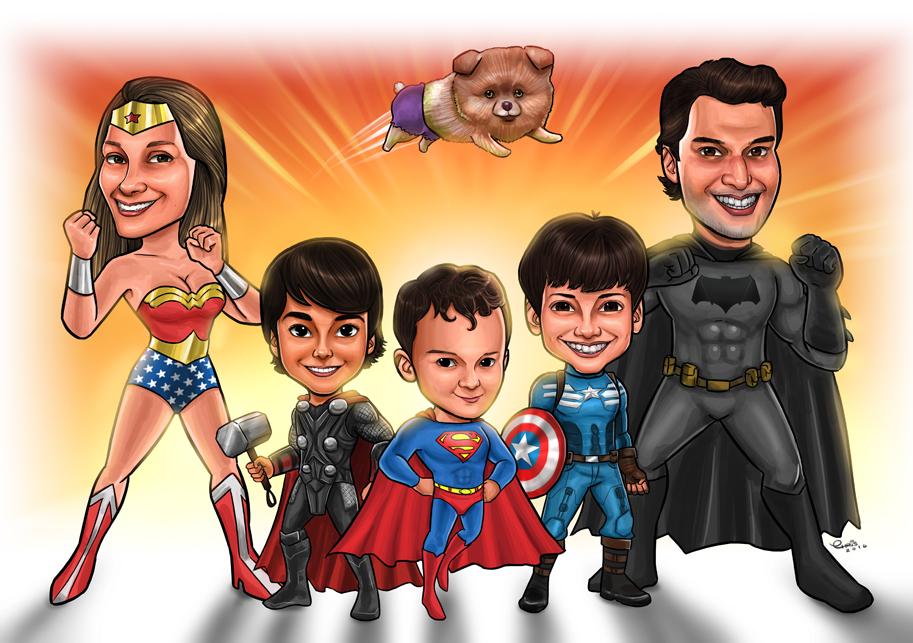 caricatura super herois