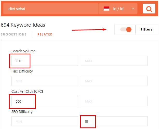 Filter Keyword dengan Ubersuggest