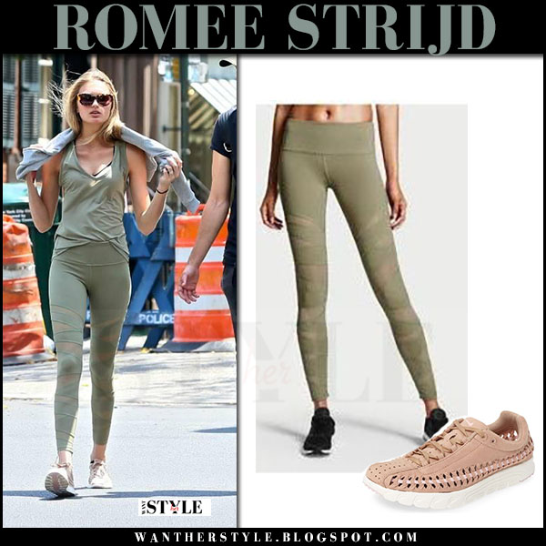 Romee Strijd in green top, green leggings and pink sneakers nike mayfly what she wore july 5 2017 street style