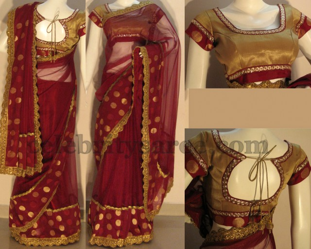 Maroon Saree With Gold Lace Border Saree Blouse Patterns