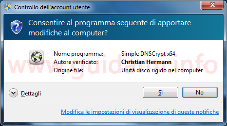 Finestra Controllo dell'account utente Windows