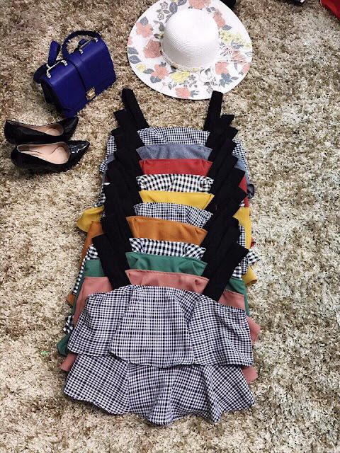 Set váy xếp ly phối áo dây 2 tầng cực đẹp Sài Gòn
