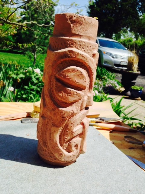 artifact pottery: Making a plaster mold of the tiki mug - Part 1