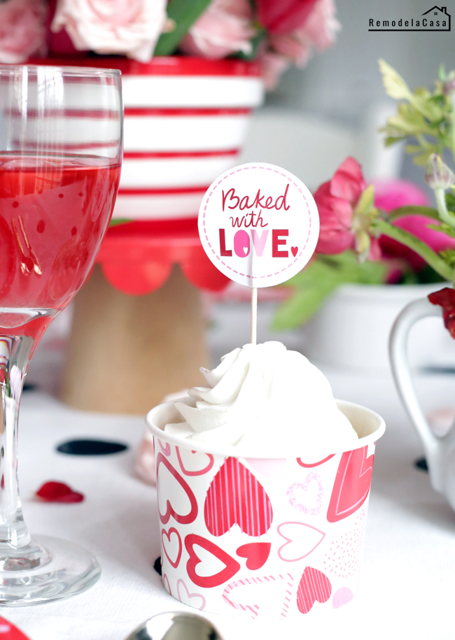 Cupcake inside paper heart cup