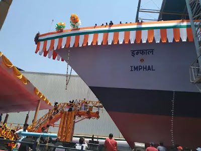 Indian Navy Launches Guided Missile Destroyer Imphal