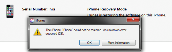 How to Fix iTunes unknown error 29 in iPhone 4S 5 5C 5S 6 6+ 6S And 6S+