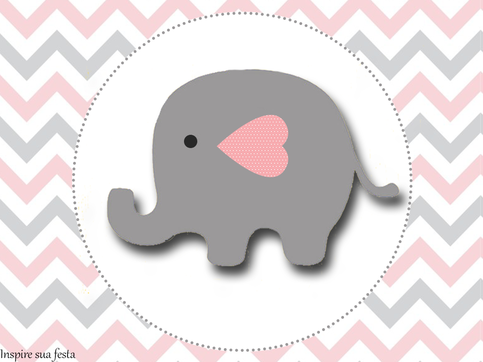 Baby Elephant in Grey and Pink Chevron: Free Printable