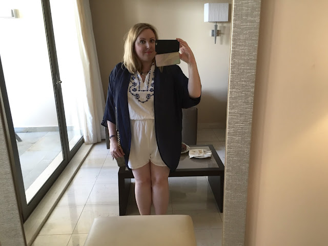 OOTD - white and navy playsuit outfit