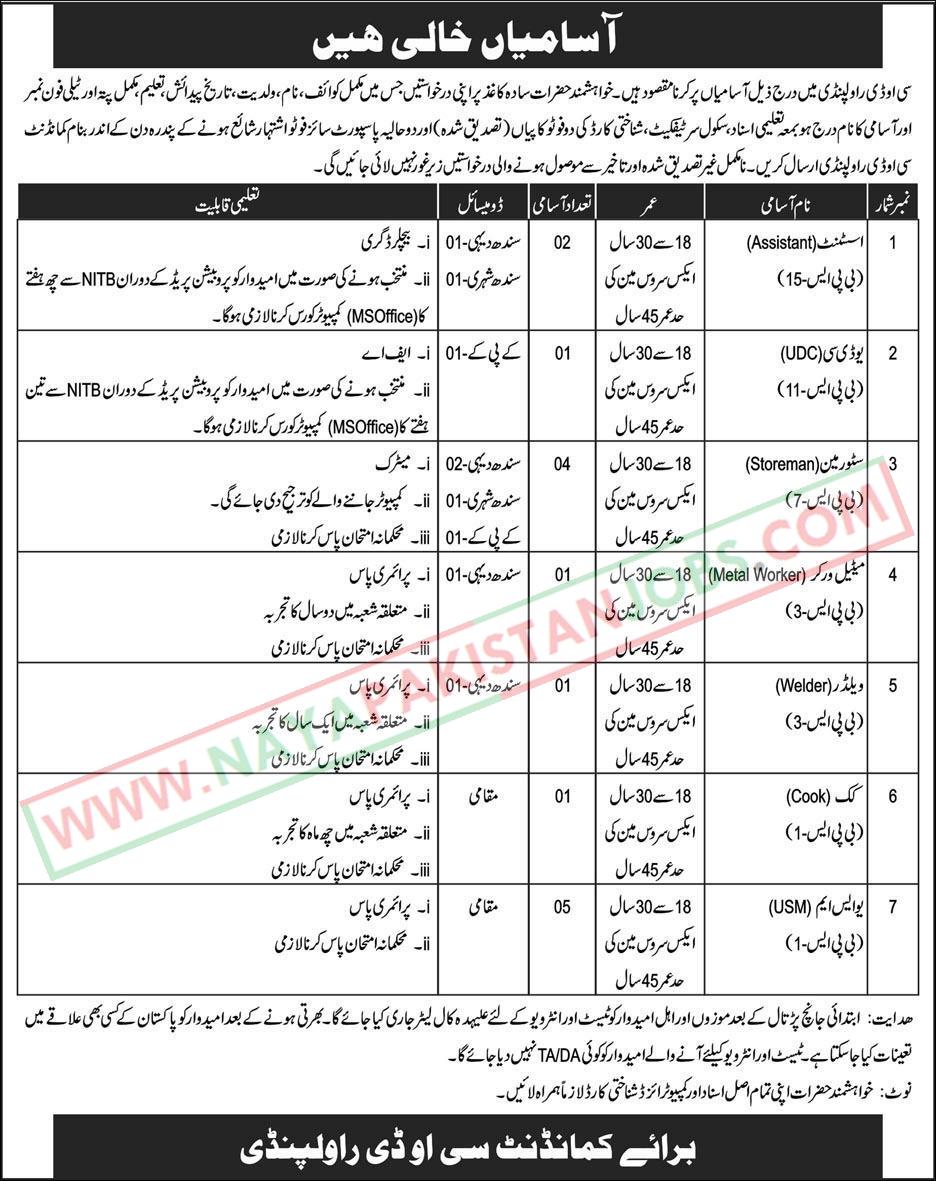 Pak Army Jobs, PAk Army Rawalpiindi Jobs, Pak Army Jobs 2019 at Central Ordnance Depot COD Rawalpindi